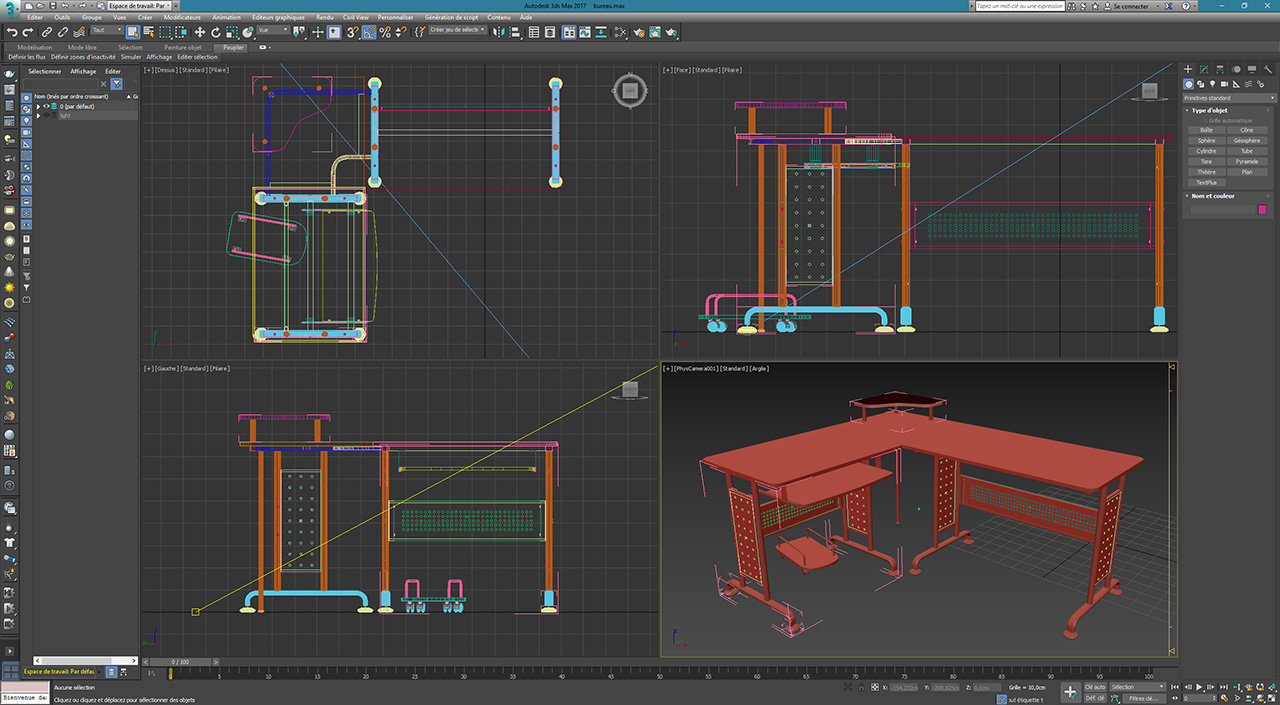bureau ordinateur ct 3807m wireframe 3ds max